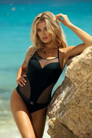 Juodas vientisas maudymosi kostiumėlis (346)