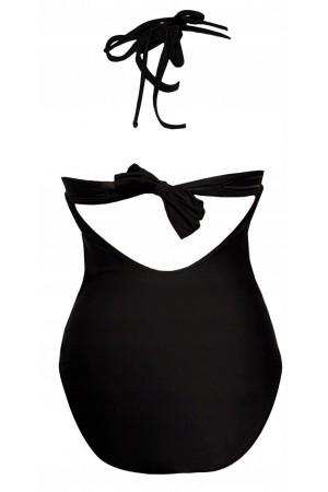 Vientisas juodas maudymosi kostiumėlis LARA