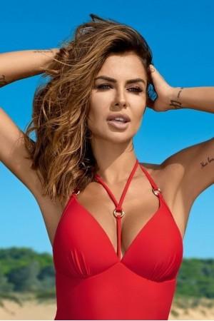 Raudonas vientisas maudymosi kostiumėlis LARA