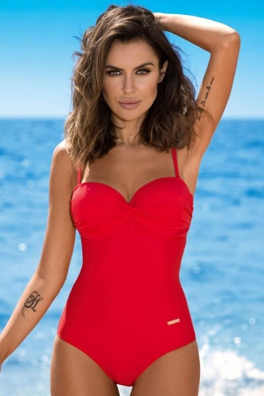 Raudonas vientisas maudymosi kostiumėlis KAREN